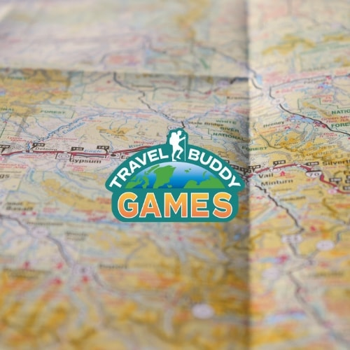 Travel Buddy Games logo on map