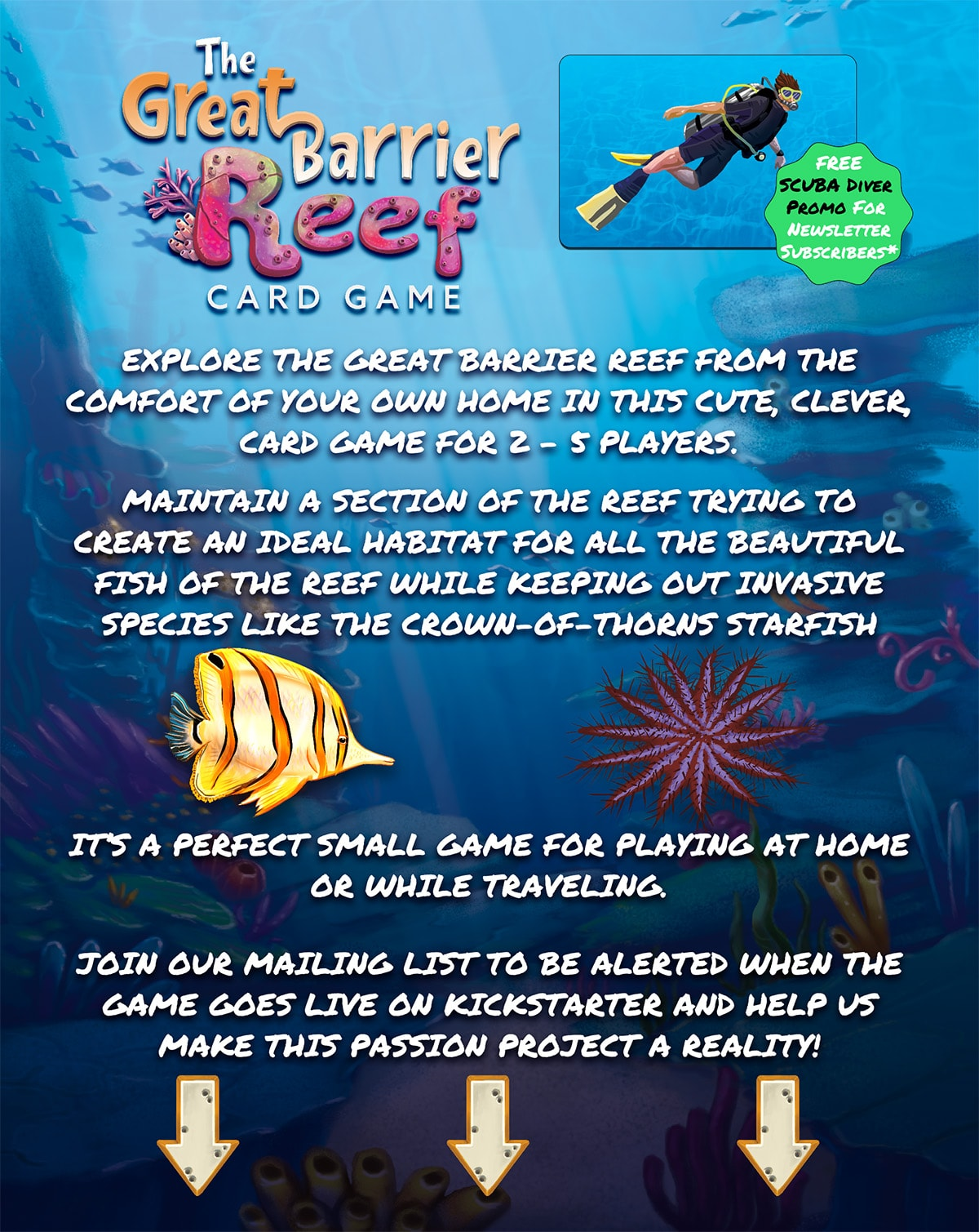 Inform visitors about the Great Barrier Reef Card Game and solicit newsletter signups